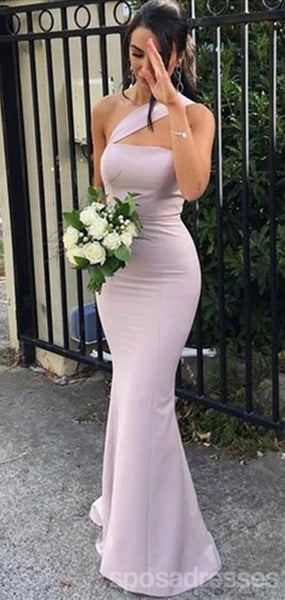 Elegant Mermaid One Shoulder Sleeveless Long Bridesmaid Dresses Online, WG903