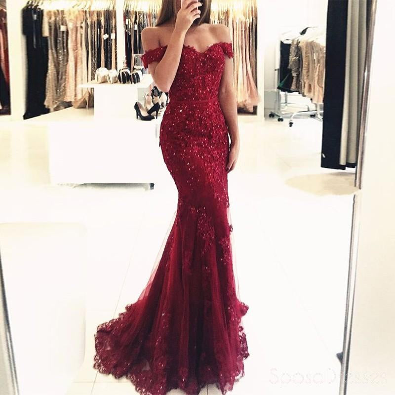 Off Shoulder Dark Red Lace Beaded Evening Mermaid Prom Dresses, Long ...