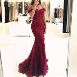 Off Shoulder Burgundy Lace Beaded Evening Mermaid Prom Dresses, Long Sexy Prom Dresses 17132