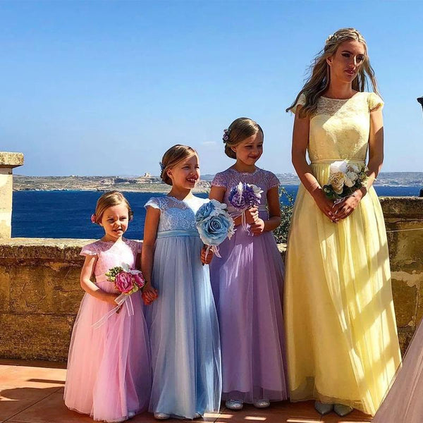 A-line Lace Cap Sleeves Bridesmaid Dresses Online, Cheap Bridesmaid Dresses WG809