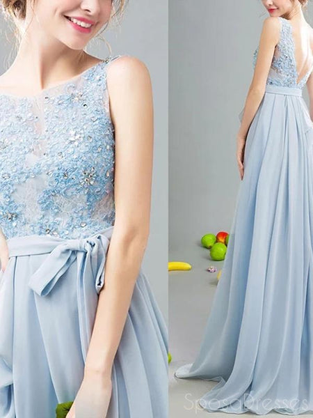 A-line Applique Sleeveless V Back Long Prom Dresses, Sweet 16 Prom Dresses, 12482
