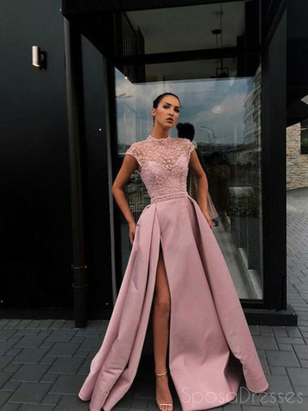 A-line High Side Slit Satin Long Prom Dresses, Sweet 16 Prom Dresses, 12522