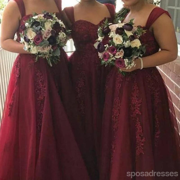 Cheap Burgundy Tulle Long Cheap Wedding Party Dresses, WG161