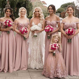 A-line Off The Shoulder Applique  Long Bridesmaid Dresses Online, WG824