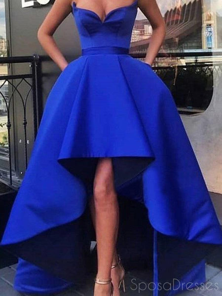 A-line Sleeveless Ruffle Royal Blue Prom Dresses, Sweet 16 Prom Dresses, 12523