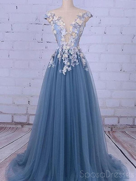 Sexy A-line Tulle Sleeveless Cheap Long Prom Dresses, Sweet 16 Prom Dresses, 12363