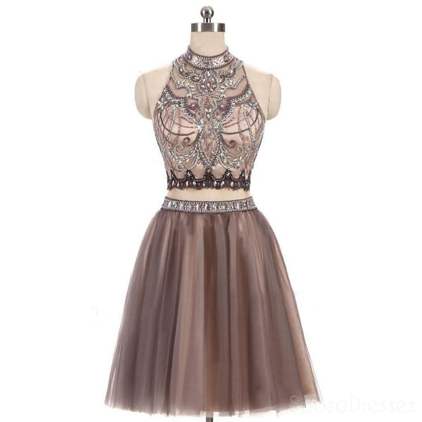 Sexy Two Pieces Beaded Brown Tulle Short Homecoming Prom Dresses, Affordable Short Party Prom Sweet 16 Dresses, Perfect Homecoming Cocktail Dresses, CM367