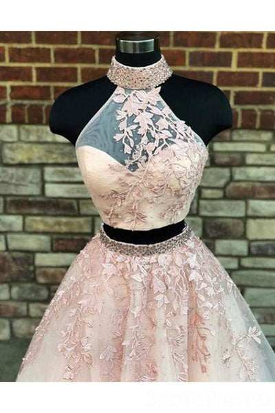Sexy Two Pieces Halter Lace A line Long Evening Prom Dresses, Popular Cheap Long 2018 Party Prom Dresses, 17281