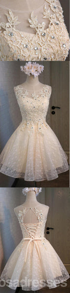 Lace Beaded Cute Homecoming Prom Dresses, Affordable Short Party Prom Dresses, Perfect Homecoming Dresses, CM312