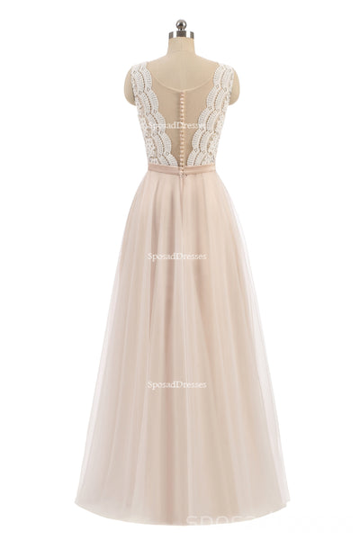 Sexy See Through Lace V Neckline Custom Bridesmaid Dresses, Cheap Unique Chiffon Long Bridesmaid Gown, BD118