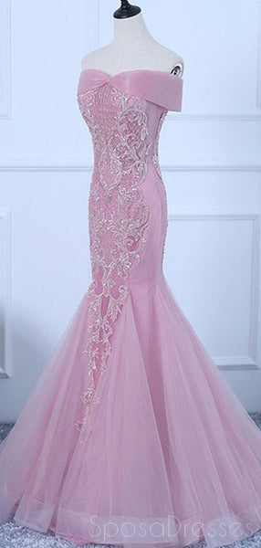 Pink Off Shoulder Lace Beaded Mermaid Long Evening Prom Dresses, Evening Party Prom Dresses, 18641
