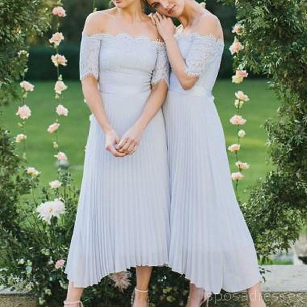 Baby Blue Off Shoulder Long Sleeves Short Bridesmaid Dresses Online, WG274