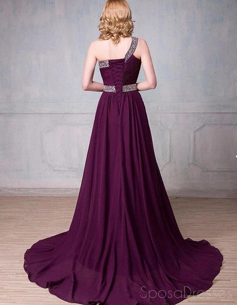 One Shoulder Ombre Beaded Long Evening Prom Dresses, Cheap Sweet 16 Dresses, 18355