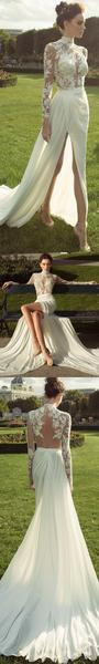 Long Sleeve High Neckline See Through Open Back Lace Wedding Dresses,  WD205