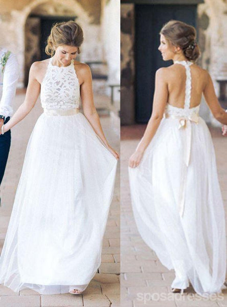 High Neck White Lace Long Sheath Simple Design Wedding Party Dresses, WD0089