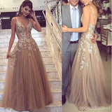 V Neck Spaghetti Straps Tulle A-line Cheap Prom Dresses Online, PD0130