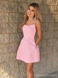 Simpe Sexy Pink Cheap Short Homecoming Dresses Under 100, CM674