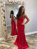 Sexy Backless Side Slit Dark Red Mermaid Long Custom Evening Prom Dresses, 17431