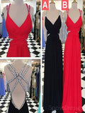 Sexy Backless V neck Beaded Floor Long Custom Evening Prom Dresses, 17420