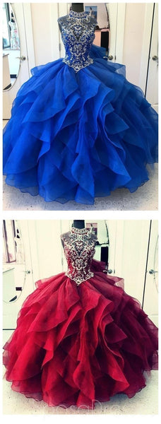 Royal Blue Ball Gown High Neck Rhinestone Beaded Long Evening Prom Dresses, 17689
