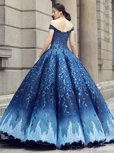 Off Shoulder Navy Blue Ball Gown Prom Dresses, Sweet 16 Dresses, Quinceanera Dresses, 12382