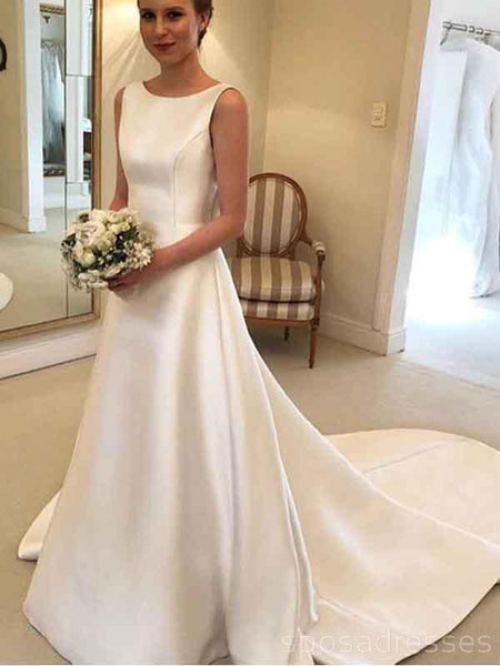 Simple Backless Bateau A-line Cheap Wedding Dresses Online, Cheap Bridal Dresses, WD518