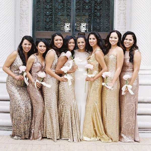 Long Sleeves Gold Sequin Mermaid Cheap Long Bridesmaid Dresses Online, WG256