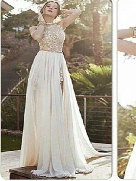 Sexy Lace Backless Long Chiffon Prom Dresses, High Neckline Halter Side Slit Prom Dresses, PD0018