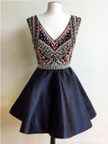 Black V Neck Heavily Beaded Cheap Short Homecoming Dresses Online, CM679
