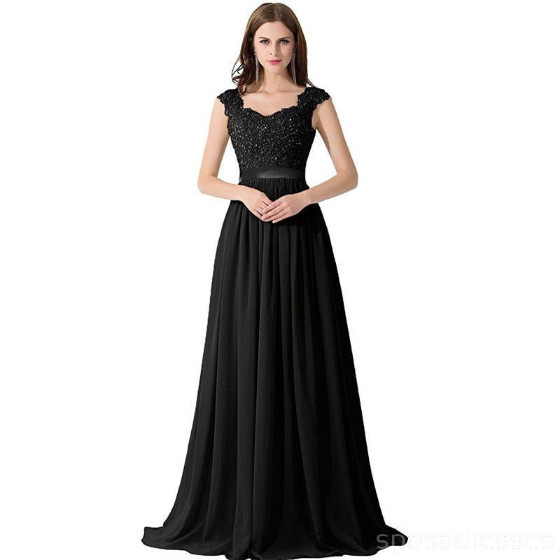 Cap Sleeve Lace Beaded See Through Black Chiffon Long Bridesmaid Dresses Online, WG286