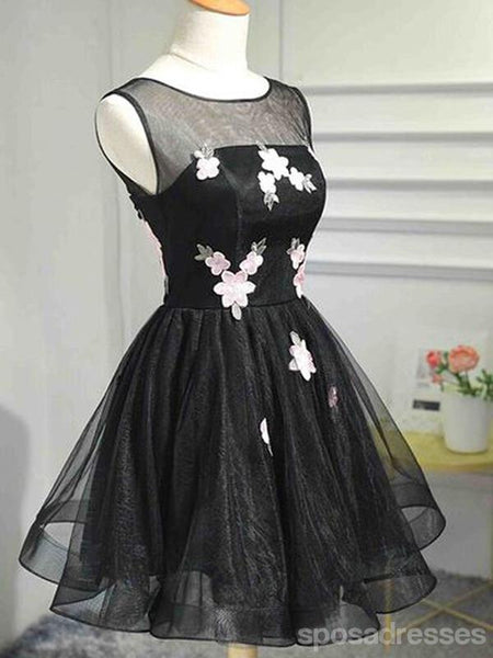 Popular Black Illusion Cheap Short Homecoming Dresses Online, CM640