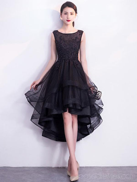 Black Scoop High Low Lace Cheap Homecoming Dresses Online, Cheap Short Prom Dresses, CM779