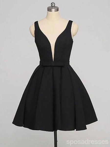 Simple Black V Neck Short Cheap Custom Homecoming Dresses 2018