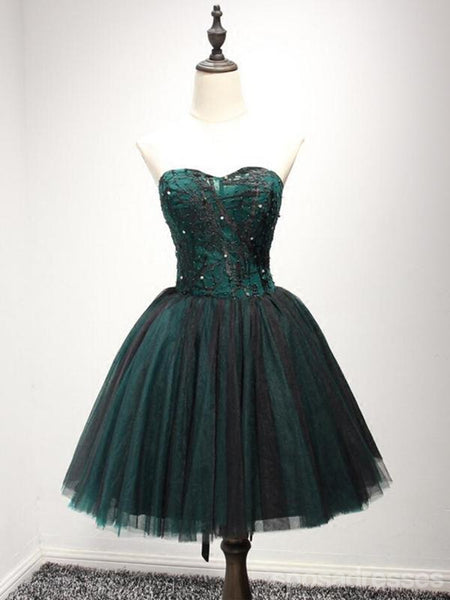 Strapless Dark Green Black Lace Tulle Homecoming Prom Dresses, CM237