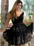 V Neck Black Lace Cheap Short Homecoming Dresses Online, CM641
