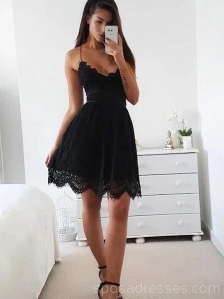 Sexy Backless Spaghetti Straps Black Lace Homecoming Dresses Online, Cheap Short Prom Dresses, CM741