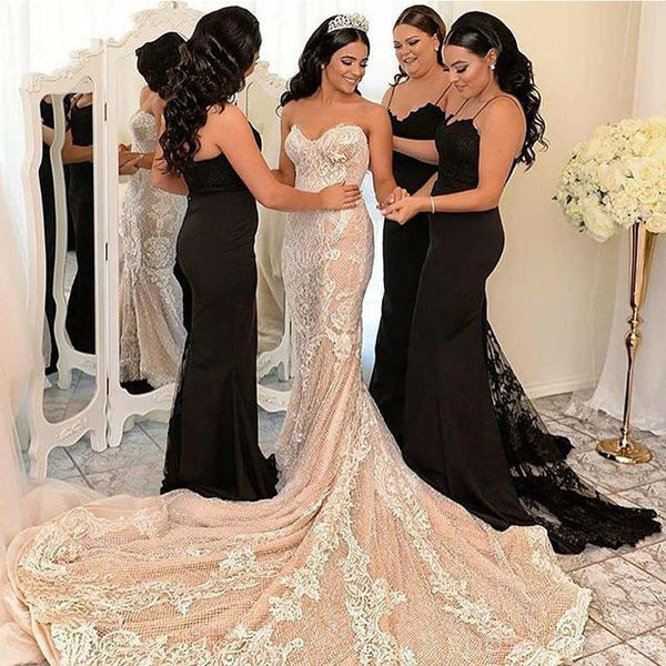 Black Lace Mermaid Cheap Long Bridesmaid Dresses Online, BD109