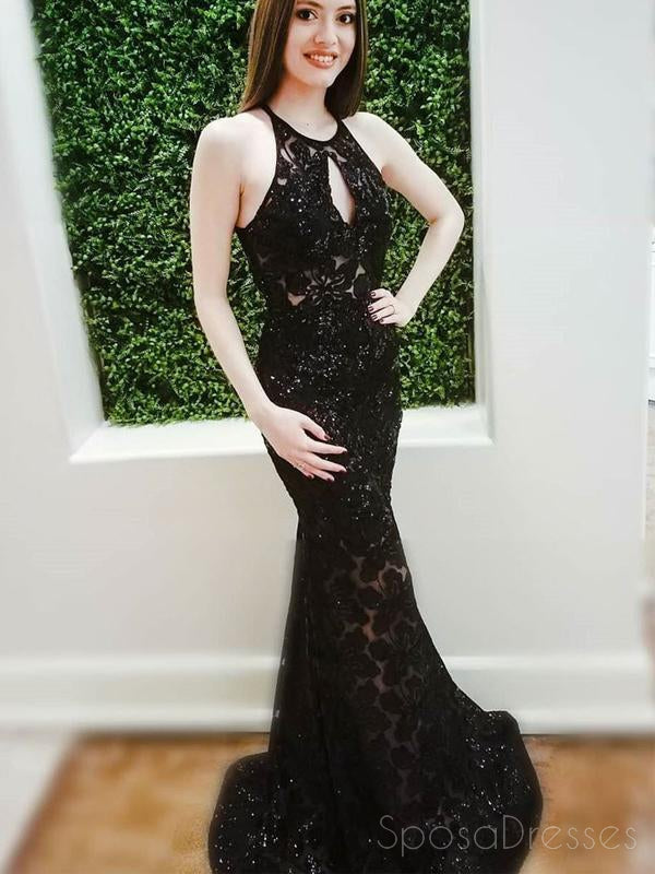 Halter  Black Lace Mermaid Custom Long Evening Prom Dresses, 17714