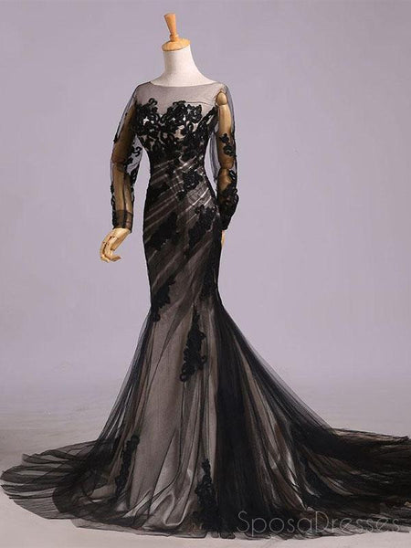 Long Sleeves Black Lace Mermaid Long Evening Prom Dresses, Cheap Sweet 16 Dresses, 18436