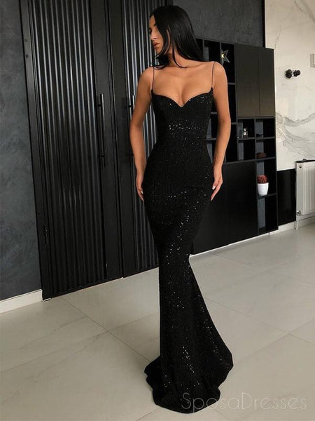 Sexy Mermaid Black Lace Long Evening Prom Dresses, Cheap Custom Party Prom Dresses, 18574