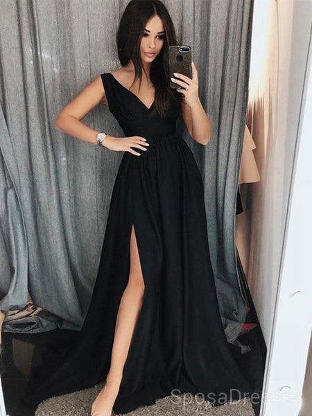 52ffdf875a Simple V Neck Side Slit Black Evening Prom Dresses