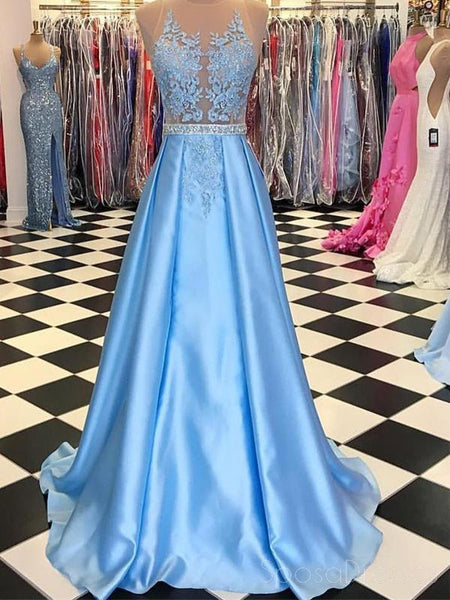 See Through Backless Halter Blue A-line Sparkly Tulle Long Evening Prom Dresses, 17563