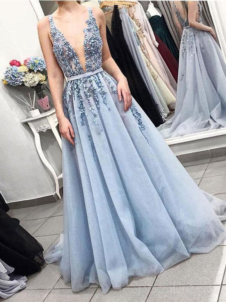 099110a2432 Sexy Backless Deep V Neck Dusty Blue Lace Long Evening Prom Dresses ...