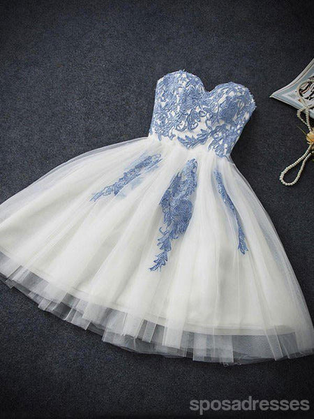 Sweetheart Neckline Blue Lace Homecoming Prom Dresses, Cheap Sweet 16 Dresses,  CM353