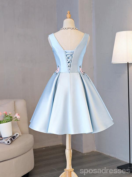 V Neck Simple Blue Cheap Short Homecoming Dresses Online, CM669