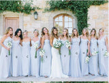 Mismatched Blue Chiffon Floor Length Cheap Long Bridesmaid Dresses, WG565
