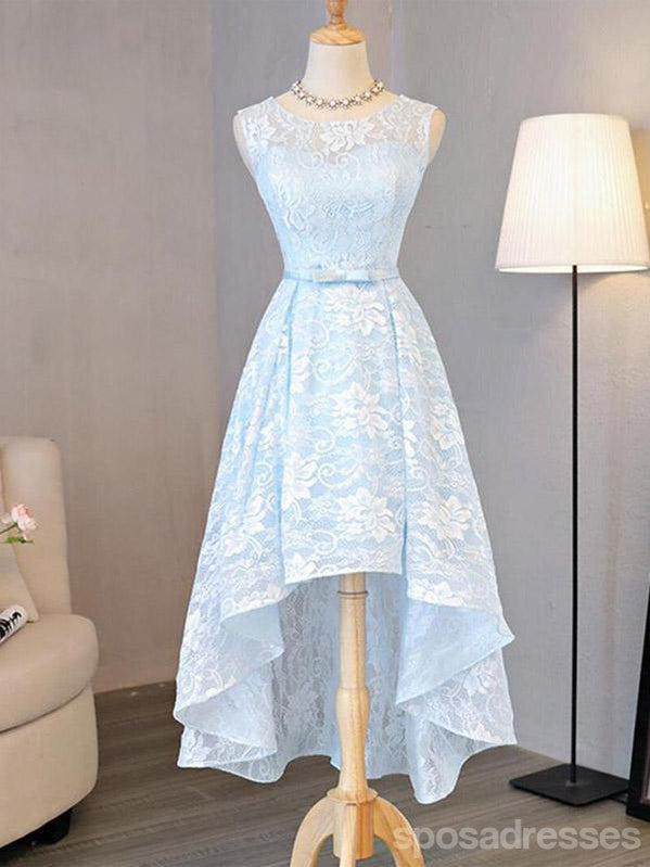 Blue Lace High Low Homecoming Prom Dresses, Cheap Party Prom Sweet 16 Dresses, CM327
