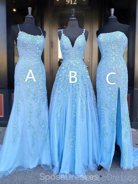 Sexy Blue Lace Beaded Cheap Evening Prom Dresses, Evening Party Prom Dresses, 12202