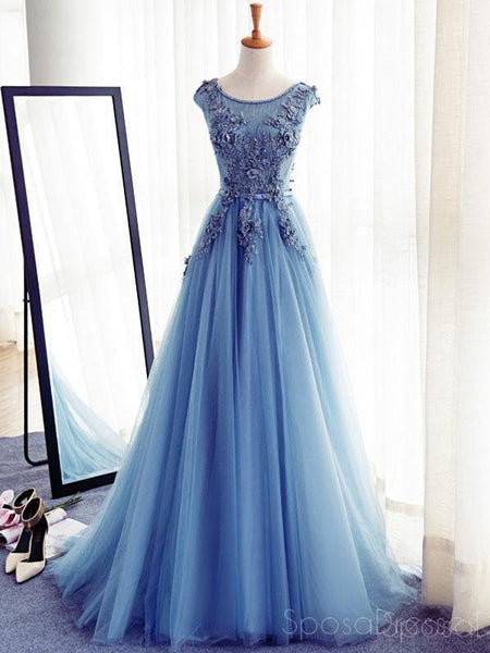 Cap Sleeve Blue Lace Beaded Evening A Line Prom Dresses, Long Sexy Party Prom Dress, Custom Long Prom Dresses, Cheap Formal Prom Dresses, 17133