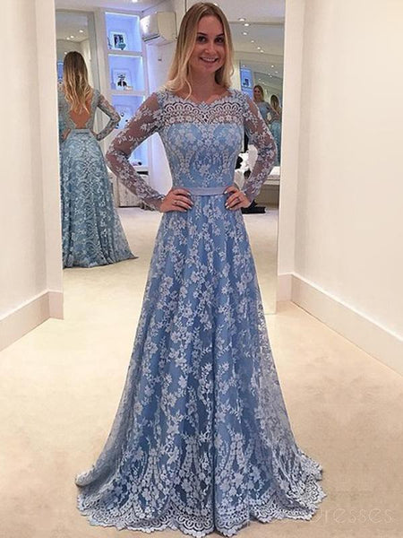 Blue Lace Prom Dresses, Long Sleeves Prom Dresses,A-line Prom ...